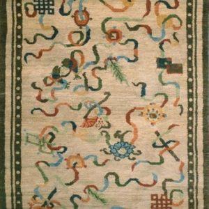 Tibetan Rug Eight Auspicious symbols Beige